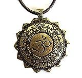 Collar Om Chakras Lotus–Color Bronce y Forma rayonnante como un Sol o Flor–Bijou Zen Meditación Yoga y Budismo–Colgante Regalo Original para Hombre o Mujer