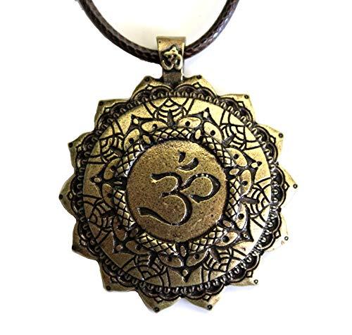 Tolma Halskette Om Chakren – bronzefarben und strahlende Form wie eine Sonne oder Blume – Zen-Schmuck Meditation Yoga und Buddhismus – Anhänger originelles Geschenk für Damen oder Herren