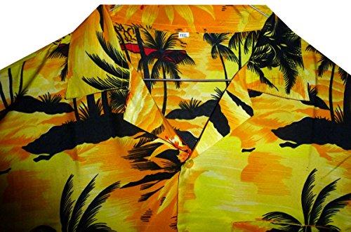 V.H.O. Funky Hawaiihemd | Herren | Kurzarm | Front-Tasche | Hawaii-Print | Surf Palmen Meer Gelb
