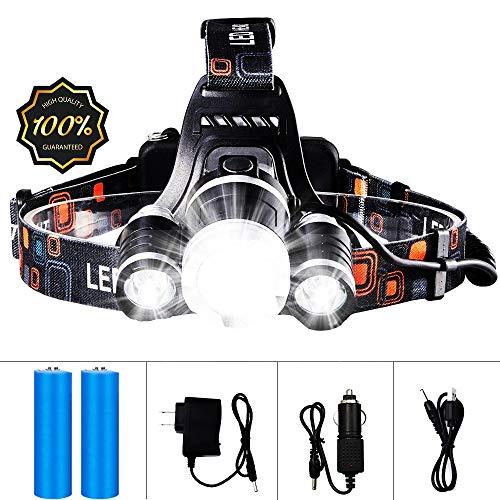 LKSDD LED Stirnlampe, 13000LM nachladbare Scheinwerfer-Taschenlampe, 3 T6 R5 LED Helm Scheinwerfer, Auto-Ladegerät Wand- Batterie -