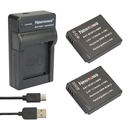 newmowa BCM13 Batterie (2er Pack) und tragbar Micro-USB-Ladegerät-Set für Panasonic DMW-BCM13, DMW-BCM13E,-BCM13PP und Panasonic Lumix DMC-FT5, LZ40 DMC-TS5 TZ37, DMC-TZ40, DMC-TZ41, DMC, TZ55 TZ60, DMC-ZS27 (Usb Ladegerät Pack Batterie)