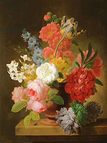 Still Life of Flowers in a Marble Urn (Oil on