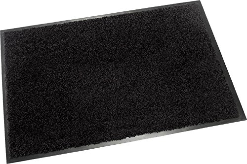 Hochwertige Fußmatte (Schwarz / 60x40 cm) waschbare Schmutzfangmatte - Höhe 8 mm - mit guter...