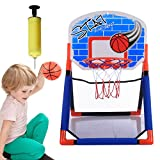 Likecom Kinder Indoor Outdoor Einstellbar Basketballkorb Set Box mit Ballon Luftpumpe Inflator Mini Basketballbrett Kinder Freizeit Sport