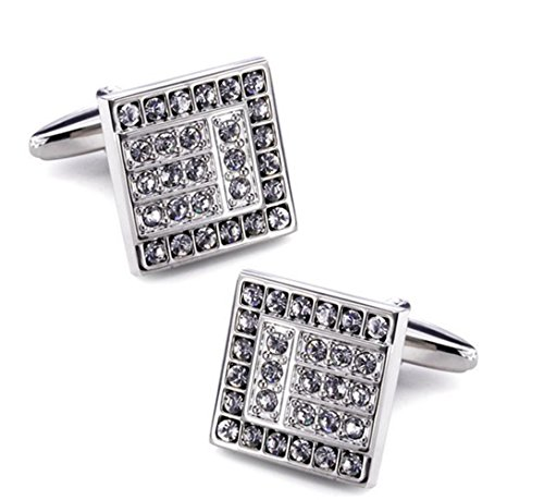 Gudeke Men's Copper Faux Diamonds Shirt Cufflinks Diamonds shirt Boutons de manchette Hommes Cuivre Faux (Argent 1) Argent 1
