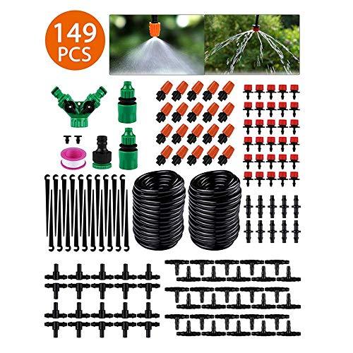 STLOVE Kit de Riego por Goteo 149 PCS Sistema de Riego de Jardín Enfriamiento Atomización Riego Automatico Invernadero Miniatura para Césped, Plantas, Huerto, Patio - 30M
