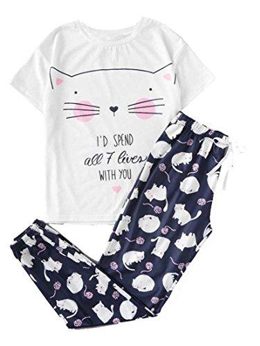 DIDK Damen Katze Muster Aufdruck Shirt und Hose Zweiteiliger Pyjama Weiss L