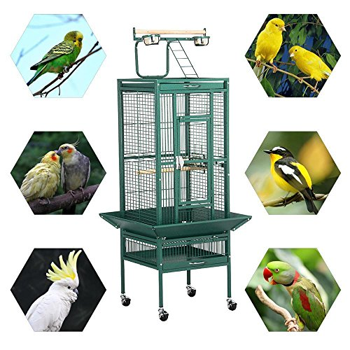 Yaheetech Vogelkäfig Vogelvoliere Metall Vogelhaus Papageien,Wellensittiche, Finken, Kanarienvögel, Nymphensittiche