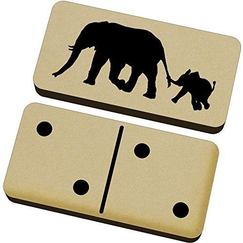 Azeeda 'Silueta de Elefante y Becerro' Domino Juego y Caja (DM00017547)