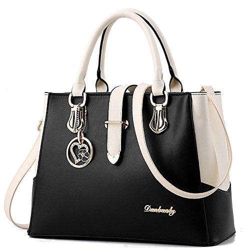 BestoU Damen Handtaschen Schwarz groß taschen Leder moderne damen handtasche gross schultertasche Frauen Umhängetasche (Schwarz)