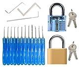 Dietrich Set für Beginner & Fachkräfte - 15 Stück lockpicking set (12 Dietriche & 3 Spanner) + 2 Vorhängeschlösser (durchsichtiges Übungsschloss + echtes Schloss)