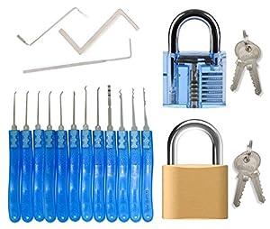 Kit de crochetage serrures pour débutants et professionnels - 15 pièces pour crochetage de serrures comprenant 12 crochets et 3 clés tendeurs + 2 cadenas (1 transparent d'entraînement et 1 véritable)