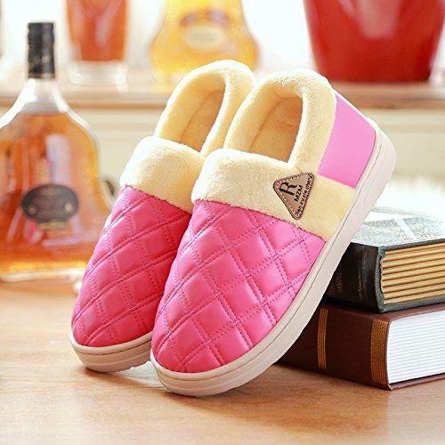 DogHaccd pantofole,Home pantofole in pelle home inverno uomini interiori di pantofole di cotone spessa femmina con anti-slip confezione impermeabile. Il rosso2