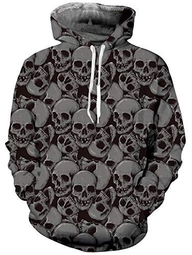 Goodstoworld Bunt 3D Hoodie Jungens Unisex Bunt Skull Druck Hoodie Pullover Sweatshirt Langarm Fleece Kapuzenjacke Kostüm Top