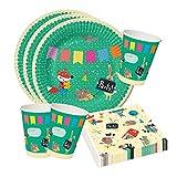 Partyset für Kindergeburtstag oder Party, bunt, lustig, Tiere, Pappteller und Pappbecher, Servietten, Kindergeburtstag Tischdeko Set 36 tlg.