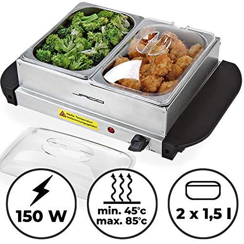 Buffetwärmer - elektrisch, mit Heizplattenfunktion, 2x1.5L, Temperaturregler, Edelstahl - Warmhaltegerät, Speisewärmer, Warmhalteplatte, Warmhaltebehälter