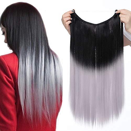 Extension con filo invisibile capelli lunghi lisci [nero mix grigio chiaro] 50cm 20