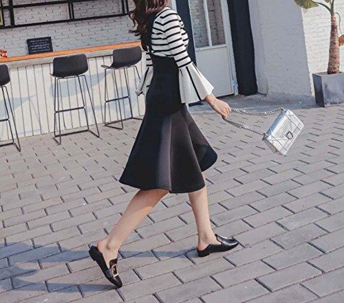 NobS Pelle punta rotonda Appartamenti fibbia Pantofole donna Jelly metallo Slip-On Casual Scarpe Black