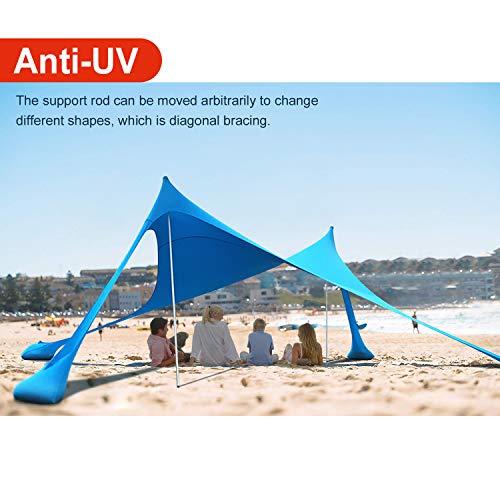 Lovebay Tenda da Spiaggia con Sabbia Anchors e Bastone - 100{3fa61170839a31096981d28338b549ed6cebb962cc438bbc6b2268f0f009bc3a} lycra SunShelter Tettuccio Parasole con Protezione UV 210 x 210 CM per Campeggio Esterno Pesca Picnic