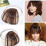 Ugeat 100% Menschlichen Haar 6# Mittel Braun Front Fringe Clip in ein Stuck Glatt Franse Haar Extensions