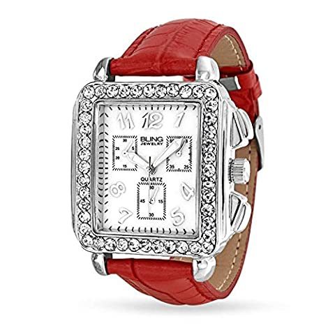 Bling Jewelry Montre Chronographe Cadran Carré avec Cristals Bracelet Cuir Rouge