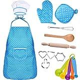 Bememo Kit de Disfraz de Cocinero de Niños Conjunto de Cocina de Niños con Utensilios para Regalo de Día de Niños, 16 Piezas (Rosa) (Azul)