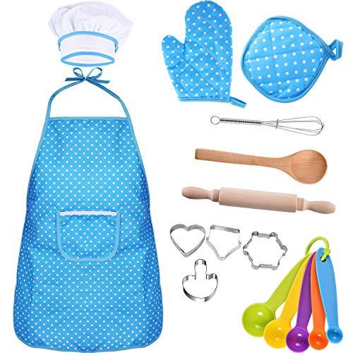 Lager Mädchen Kostüm - Kinder Koch Set Kinder Kochen Spiel Kinder Koch Kostüm mit Utensilien für Mädchen Kindertag Geschenk, 16 Stücke (Blau)