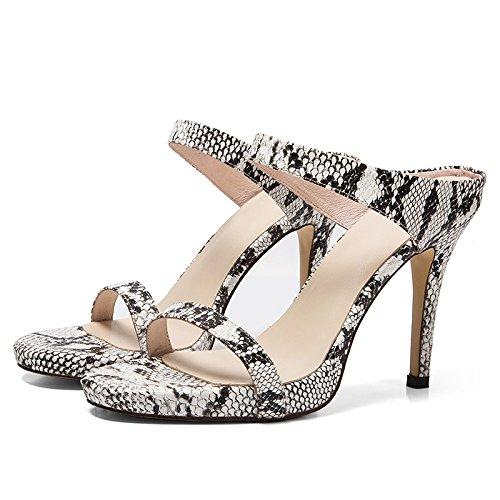 ZYUSHIZ Frau Die High-Heel Schuhe Die ersten Feld minimalistische Video dünn Die Fein mit Sandalen Leder Hausschuhe Ein