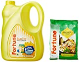 #3: Fortune Sunlite Refined Sunflower Oil Can, 5L with Free Basmati Rice, 1kg