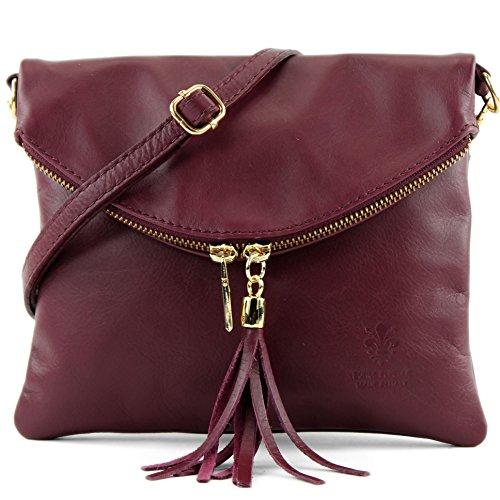 borsa di pelle ital. pochette pochette borsa tracolla Ragazze T139 piccola pelletteria T139A Bordeauxrot
