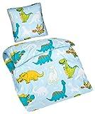 Aminata Kids – Bettwäsche 135x200 cm Kinder Jungen Dinosaurier Baumwolle + Reißverschluss Blau Grün Gelb Dino Urzeit Tiere Kinderbettwäsche 2-teiliges Bettwäscheset Jungs Bettbezug Ganzjahr