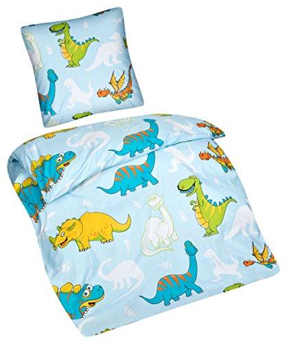 Aminata Kids – Bettwäsche 135x200 cm Kinder Jungen Dinosaurier Baumwolle + Reißverschluss Blau Grün Gelb Dino Urzeit Tiere Kinderbettwäsche 2-teiliges Bettwäscheset Jungs Bettbezug Ganzjahr (Blau Und Gelb Bettbezug)