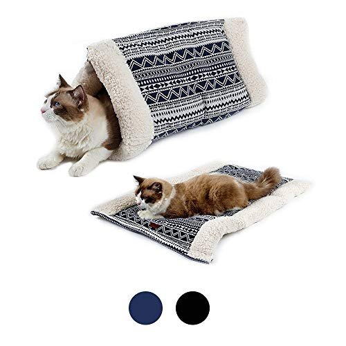 ZHUOZ Haustier-Bett-Katze-Sänfte Schlafsack Warm Pet Supplies Nest Winter-Dual-Use-Schmirgelpapier Papier Matratze, Kleiner Hund Nest Cuddle Bed Welpen Kitten