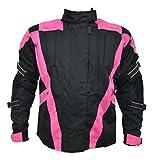 Turin - Damen Motorradjacke - wasserdicht & mit Protektoren - schwarz & pink - Größe EU 52 - Brustumfang 125,5cm