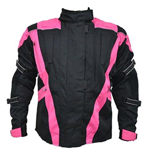 Turin - Damen Motorradjacke - wasserdicht & mit Protektoren - schwarz & pink - Größe EU 38 - Brustumfang 99cm