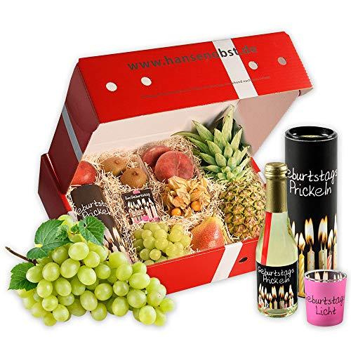Obstbox Herzlichen Glückwunsch als Geschenkset mit frischem Obst, Sekt und Windlicht in klassischer Geschenkbox (Frischem Obst Mit Korb)