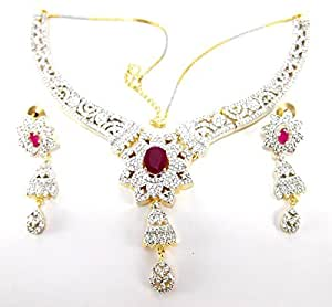 9blings american diamond heavy bridal Necklace set for Women ad76
