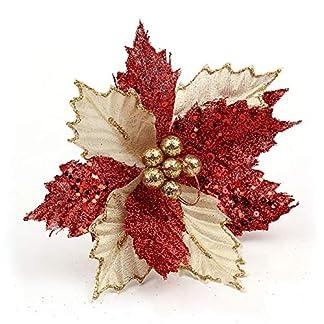 Hermoso Árbol de Navidad Decoraciones Flores Artificiales Flor de Pascua Brillo Flor Ornamento de la Boda Adorno Decoración