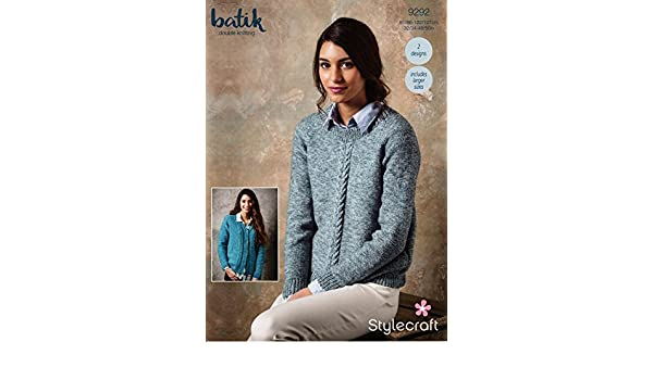 0b9408b2aadbca Stylecraft 9292 Knitting Pattern Womens Sweater and Cardigan in Stylecraft  Batik DK  Amazon.co.uk  Kitchen   Home