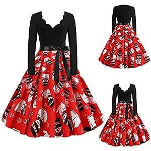 Floweworld Damen Vintage Cocktailkleider Mode V-Ausschnitt Langarm Plissee A-Linie Kleider Weihnachten 1950er Jahre…