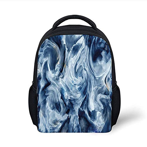 Kids School Backpack Marble,Grunge Stormy Murky Color Shades Motif Background with Blurry Effects Image Decorative,Dark and Light Blue Plain Bookbag Travel Daypack