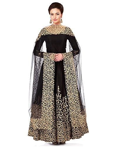 New Adhya Semi Stiched Black Long Anarkali with zari work and dupatta