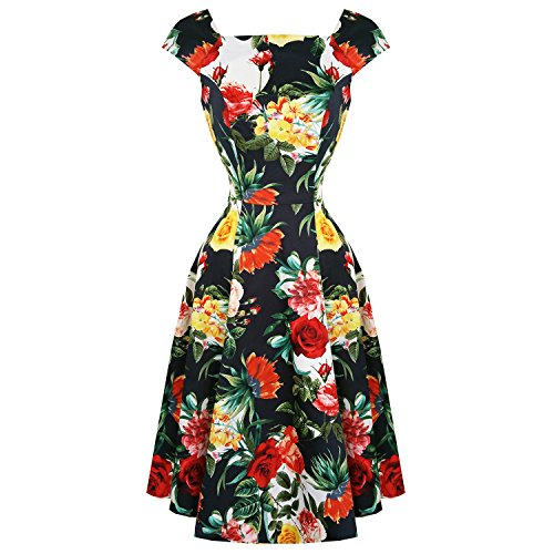 Hearts & Roses London Summer Rose Floral Retro 1950s Flared Party Tea Dress 12