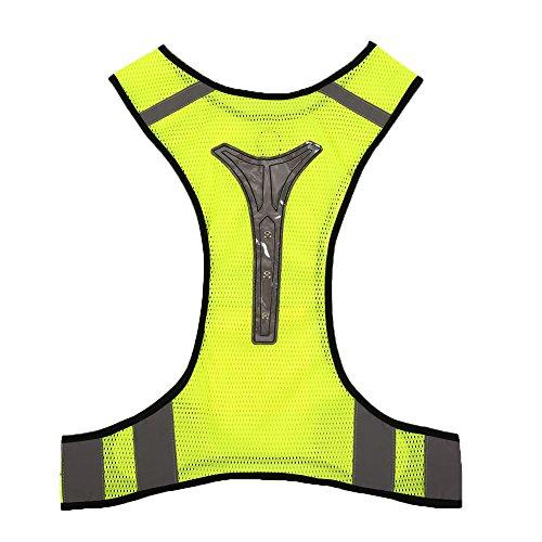 Forfar LED-Licht reflektierende Sicherheits Vest Jacket zum Nacht Sport Laufen Radfahren Breath Hohe Sichtbarkeit