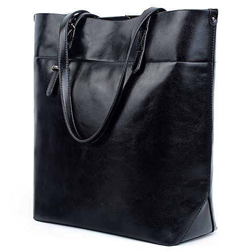 UTO Damen Shopper Tasche weich PU Leder Arbeit Schultertasches gross Capacity Shopper Handtasche schwarz(Version 2)