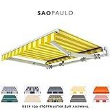 BroxSun Gelenkarmmarkise Sao Paulo | Breite 2m bis 5,3m | Auslage bis 2,5m | Auswahl: 120 Stoffe, manuell oder elektrisch uvm. | wetterfeste Markise elektrisch Sonnenschutz Terrasse beschattung breit, Sao Paulo Steuerung:Somfy/Fernb.Motor.Kurbel-Wind-Sonnenaut., Sao Paulo Abmessungen:Breite von 471 bis 530cm / Länge 250cm