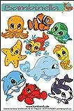 Bambinella® Stickerparade - 10 Sticker - Motiv: Wasser Tiere Mischung - Made in eigener Werkstatt in Germany