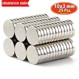 GresatekEU Mini Magnets Neo Neodymium Rare Earth N48 Thickness 1.8kg 10 x 3mm Craft Models DIY Multi-Use for Refrigerator Door Whiteboard Magnetic Map Screen Door Bulletin Boards Refrigerators 25pc