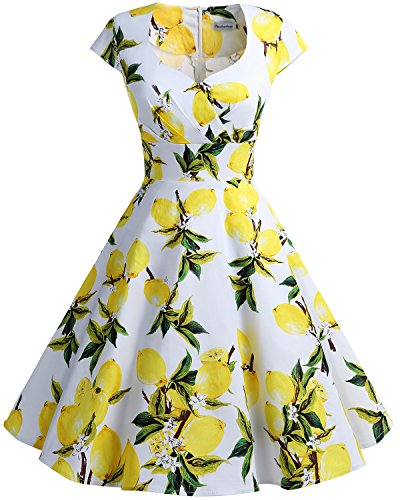 bbonlinedress 1950er Vintage Retro Cocktailkleid Rockabilly V-Ausschnitt Faltenrock Lemon 3XL