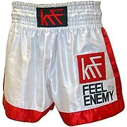 KRF Feel The Enemy Thai Liso Pantalones Cortos de Boxeo, Hombre, Blanco, L